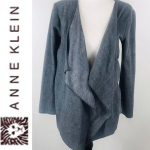 Anne Klein Gray Drape Front Open Cardigan Small